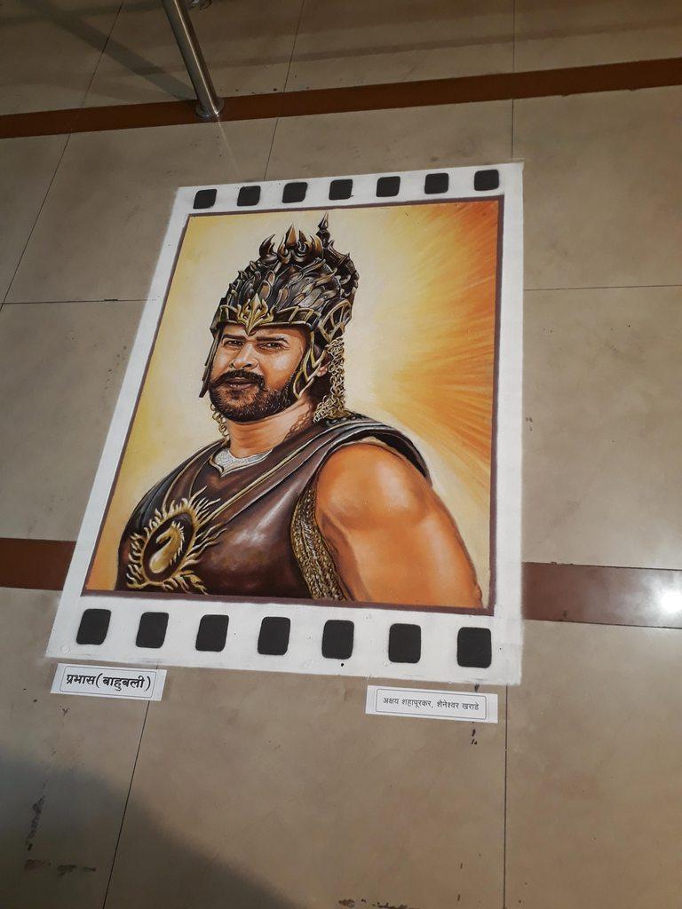 rangoli design portrait baahubali akshay shahapurkar