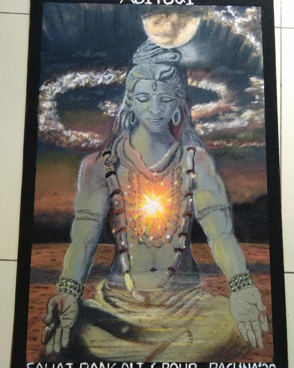colourful rangoli online exhibition adiyogi international yoga day