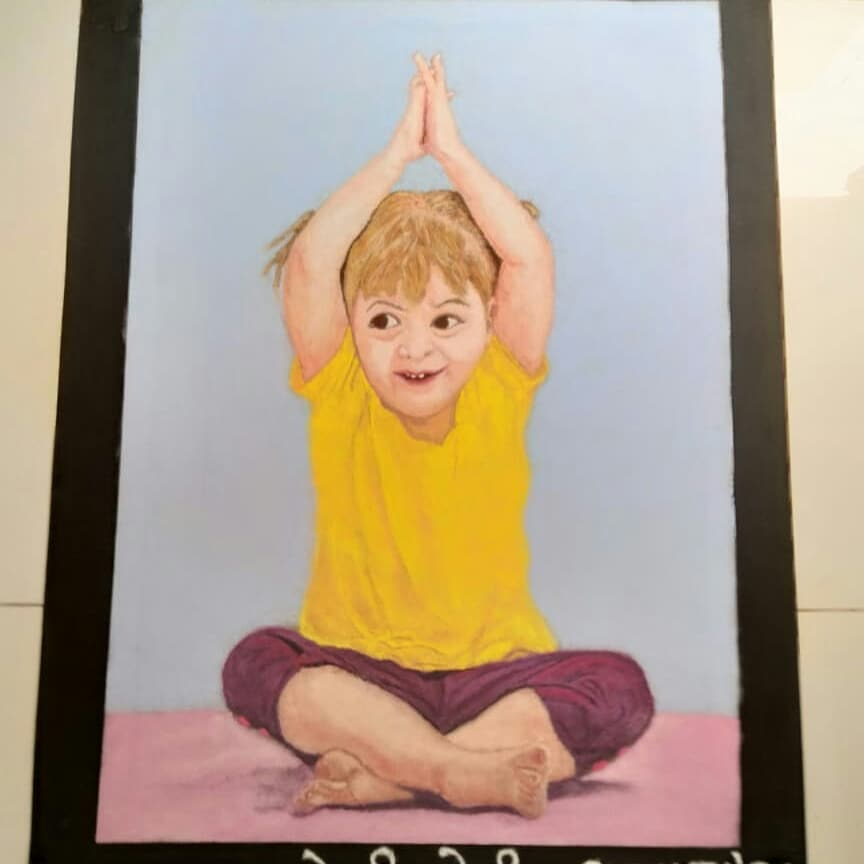 portrait rangoli design international yoga day