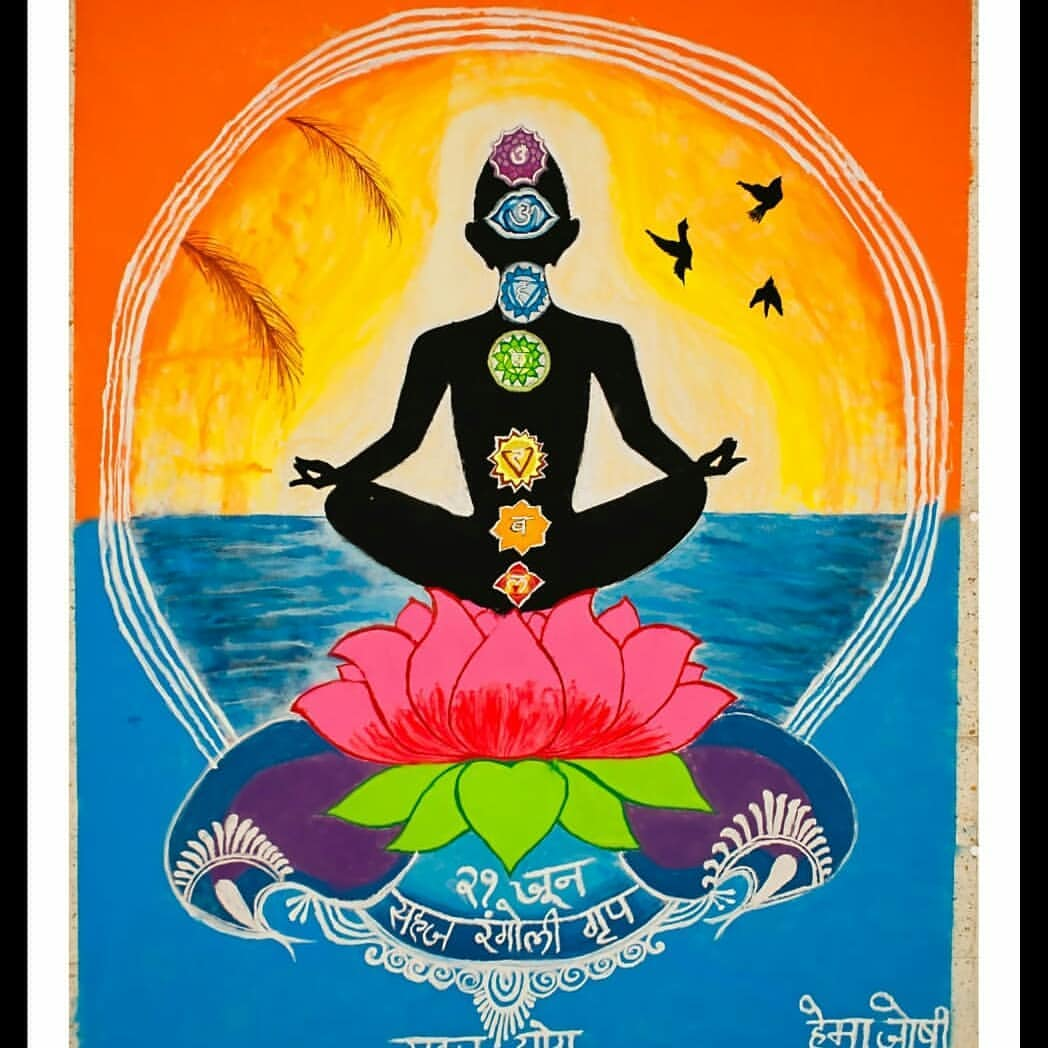 rangoli design international yoga day hema joshi