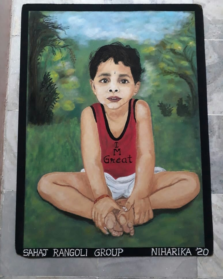 realistic rangoli design international yoga day niharika