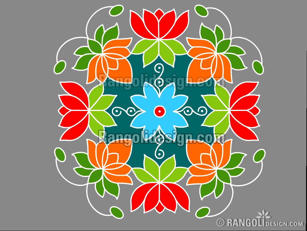 6 lotus dotted rangoli design