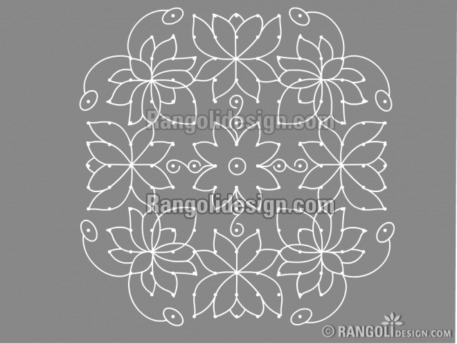 lotus dotted rangoli design