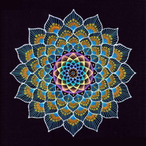 blue mandala rangoli design -  1