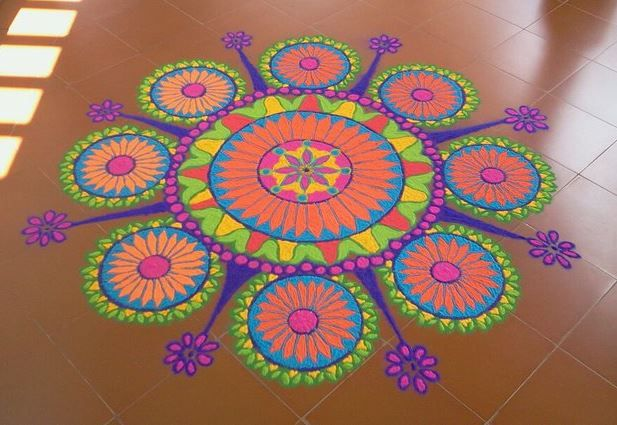 1 circle mash kolam rangoli design