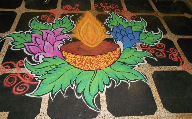 1 diwali diya flower rangoli design