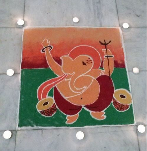 1 ganesh dance rangoli design