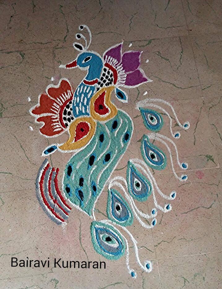 1 peacock rangoli design by bairavi kumaran