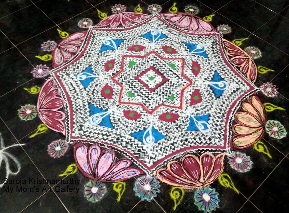 10 lotus rangoli design by saroja krishnamoorthy