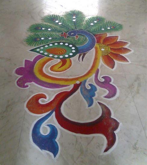 10 peacock rangoli design