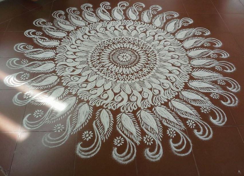 festival rangoli design by homemakeoverin -  12