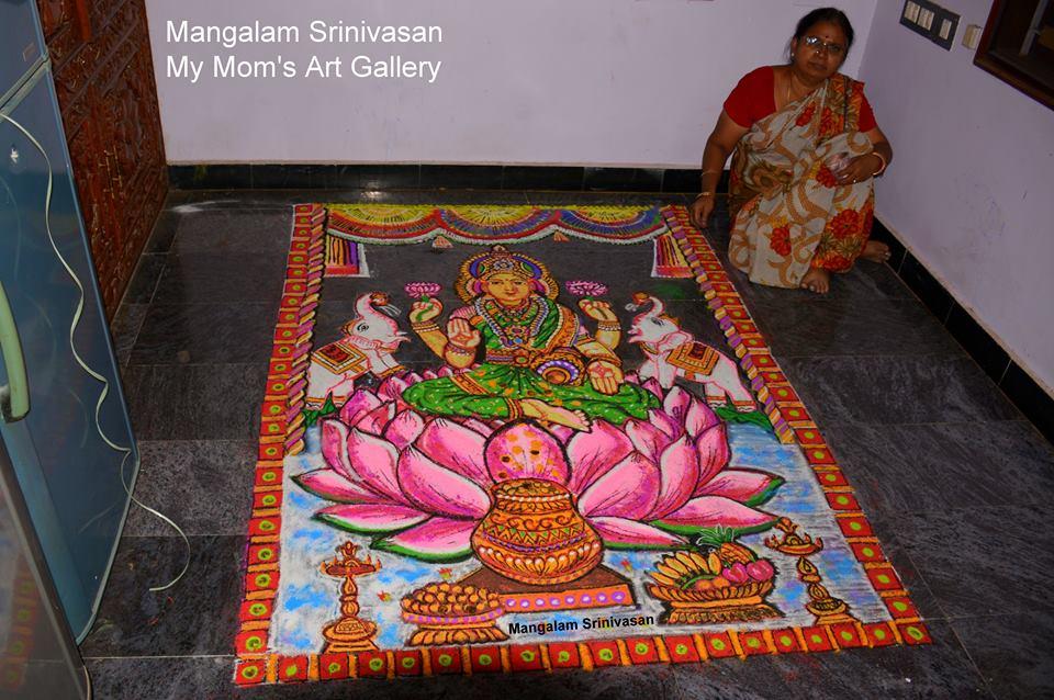 12 gajalakshmi portrait rangoli design by mangalam srinivasan