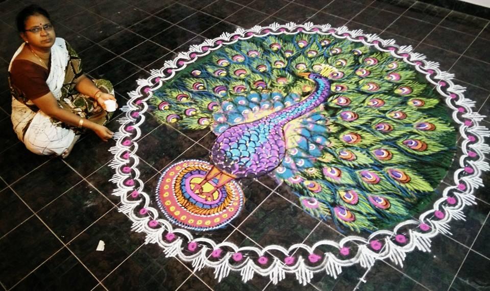 peacock rangoli design by mangalam srinivasan -  13