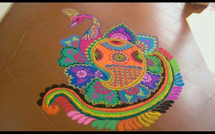 14 mash peacock kolam design by jyoti dhaage