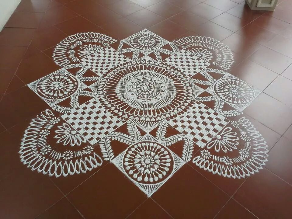 15 floral alpana design