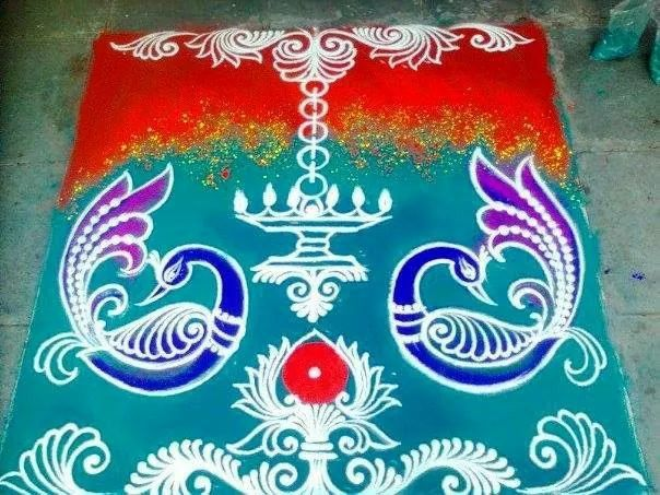 15 peacock rangoli design vani muthukrishnan