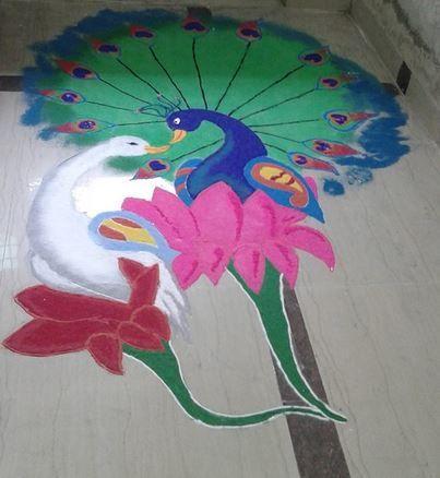 16 swan peacock rangoli design