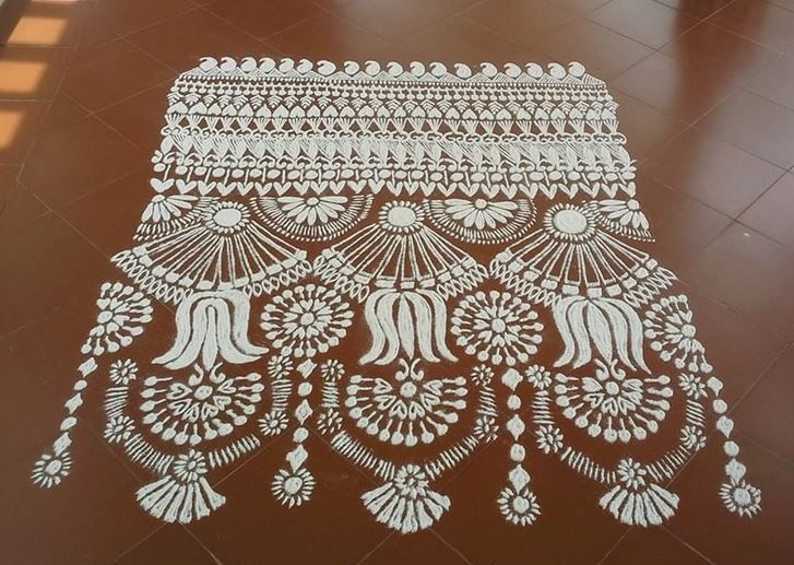 16 white mash kolam design