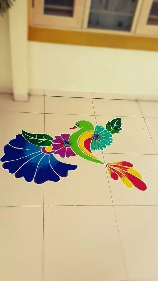 2 bird freehand rangoli design