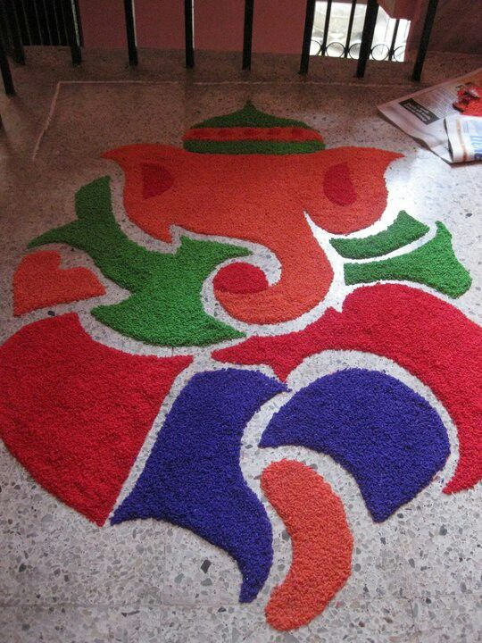 2 ganapathi rangoli design by mburadkar