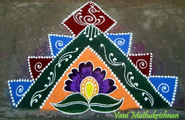 3 corner rangoli design vani muthukrishnan