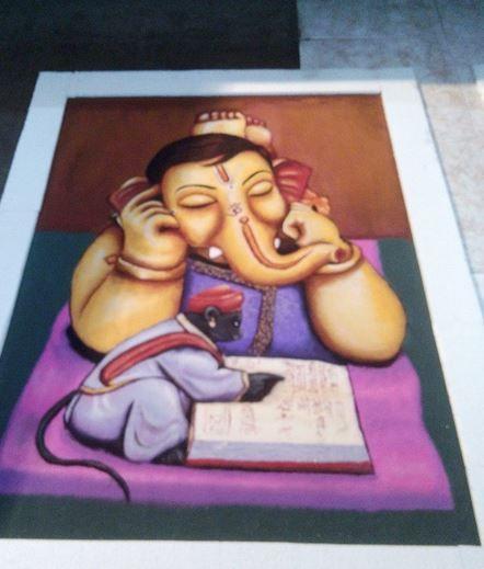 ganesh portrait rangoli design -  3