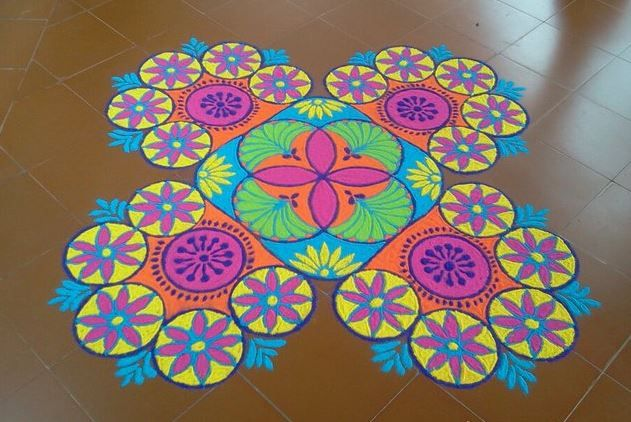 4 colorful freehand rangoli design