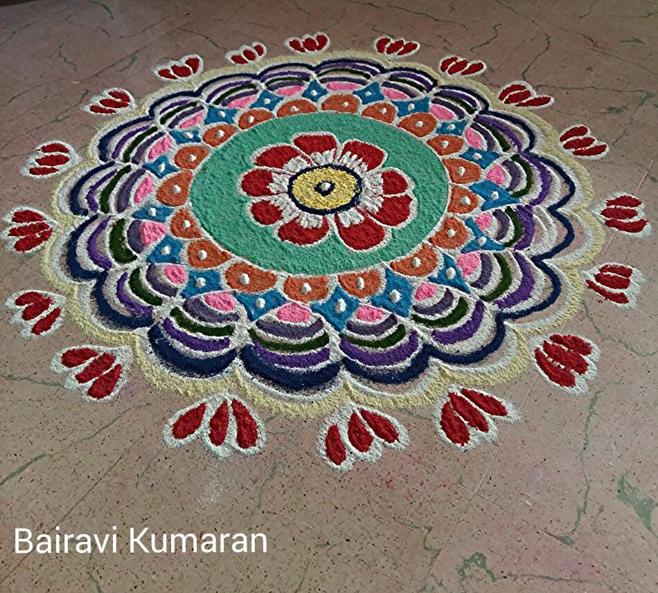 4 colourful rangoli design by bairavi kumaran