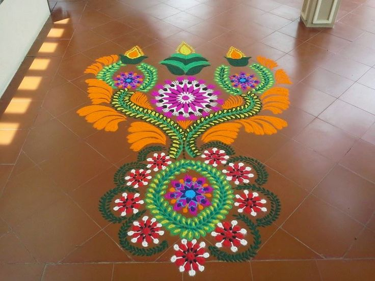 flower mash kolam design -  4
