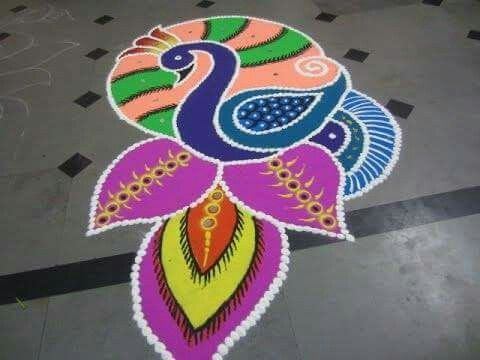 5 colorful peacock rangoli design