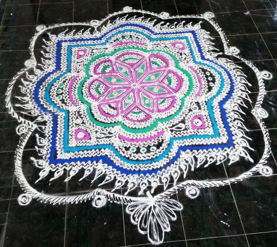 5 colourful margazhi kolam design by saroja krishnamoorthy