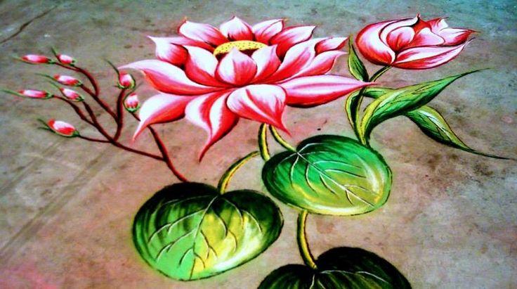 5 flower competition rangoli design