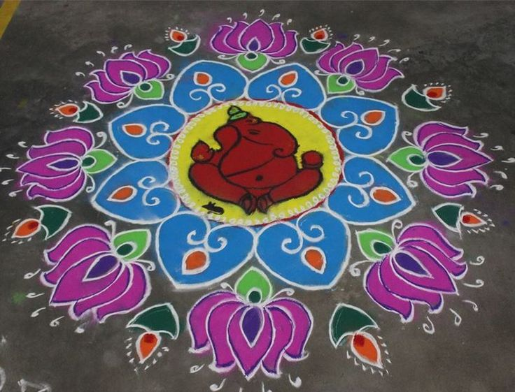 5 ganapathi rangoli design by shweta duwa