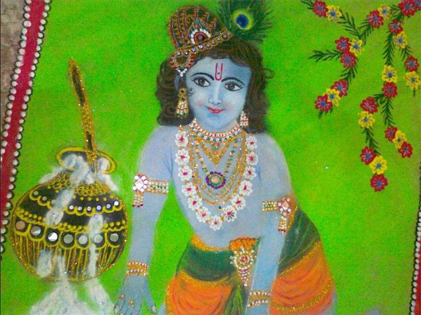6 krishna portrait rangoli design by homemakeoverin