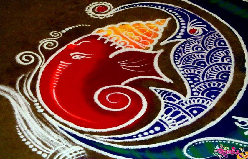 6 portrait ganesh rangoli design by amit bhorkade