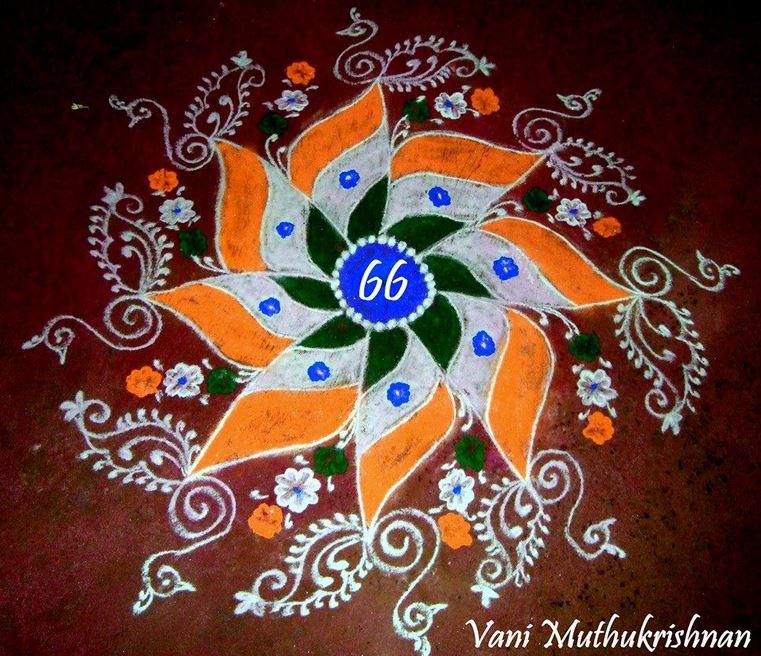 7 independence day rangoli design by vani muthukrishnan