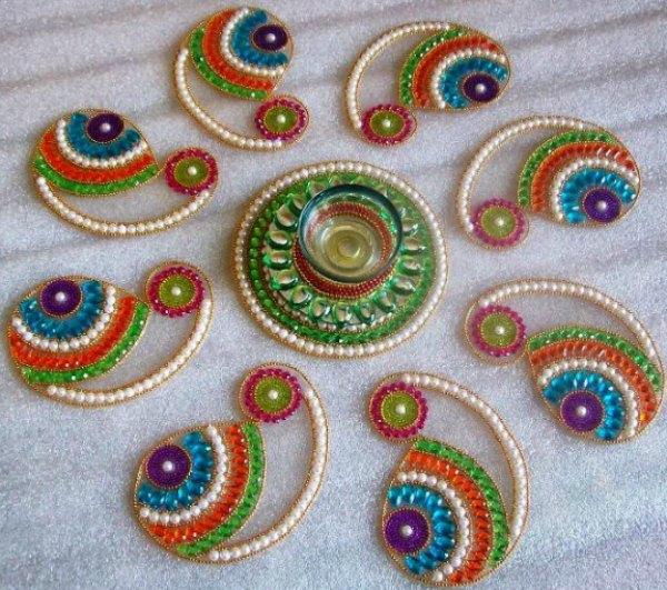 8 kundan rangoli design by neeta