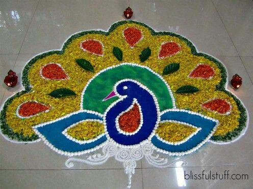 peacock flower rangoli design -  8