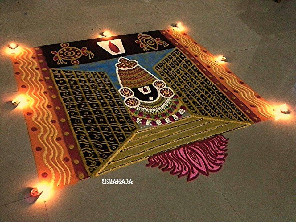 hindu venkateswara rangoli design