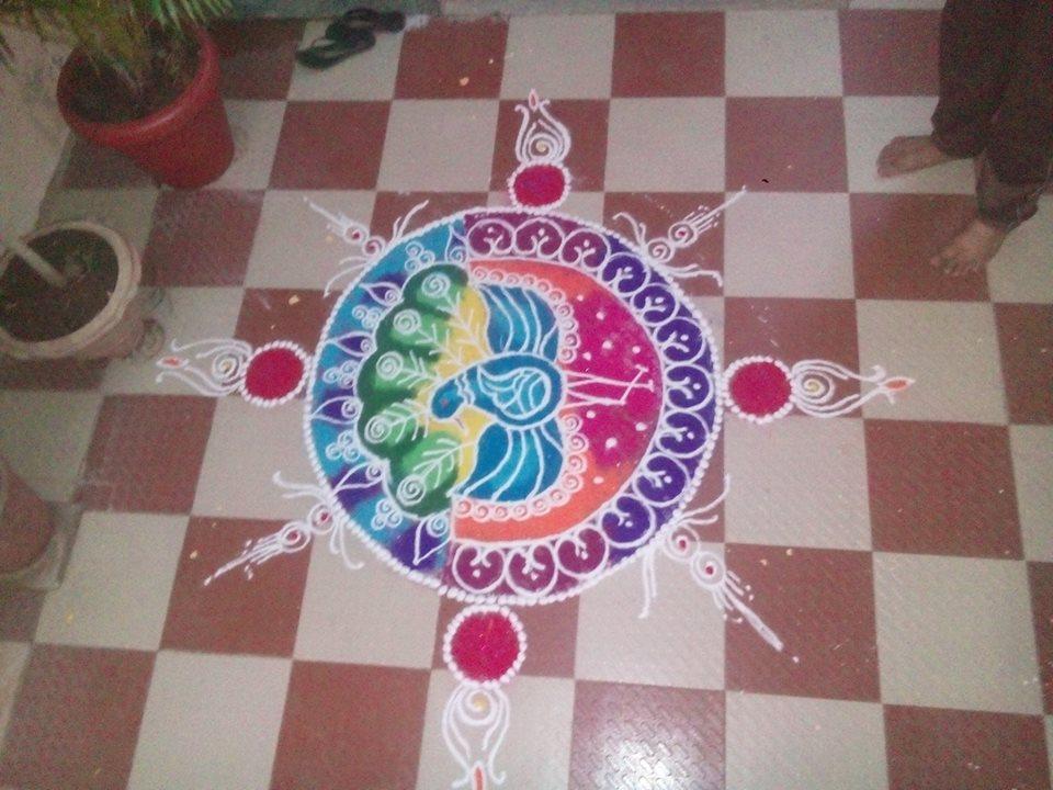 peacock sanskar bharti rangoli by pratiksha deore