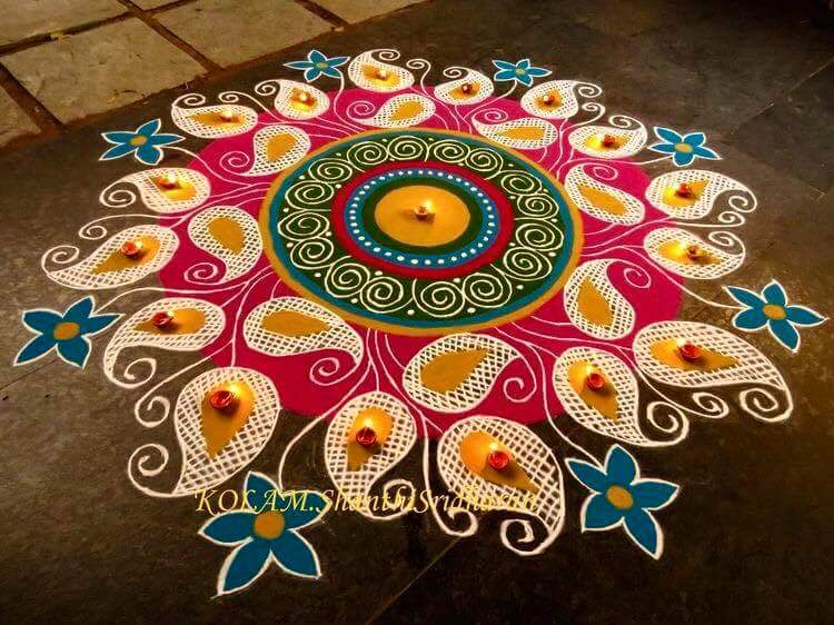 kolam rangoli design for margali by shanthi sridharan