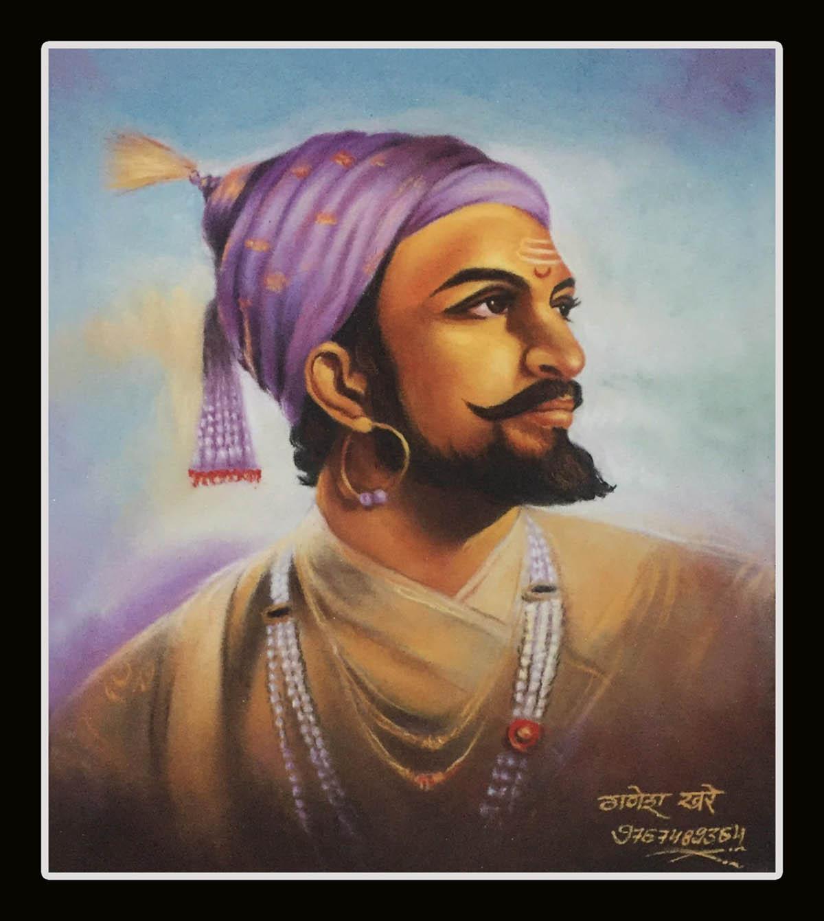 portrait rangoli design of shivaji by ganesh khare