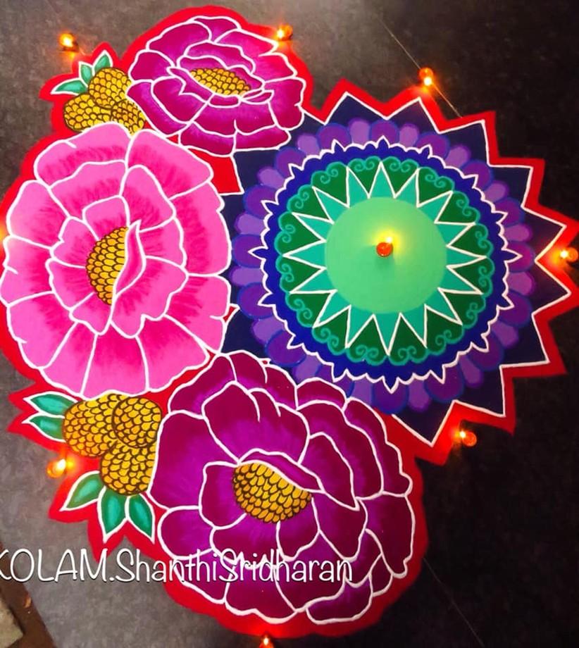 flowers rangoli design by shanthi sridharan