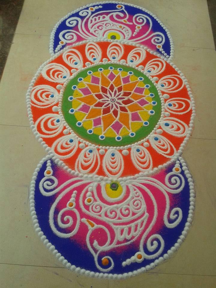 colorful rangoli design by aarohi shah
