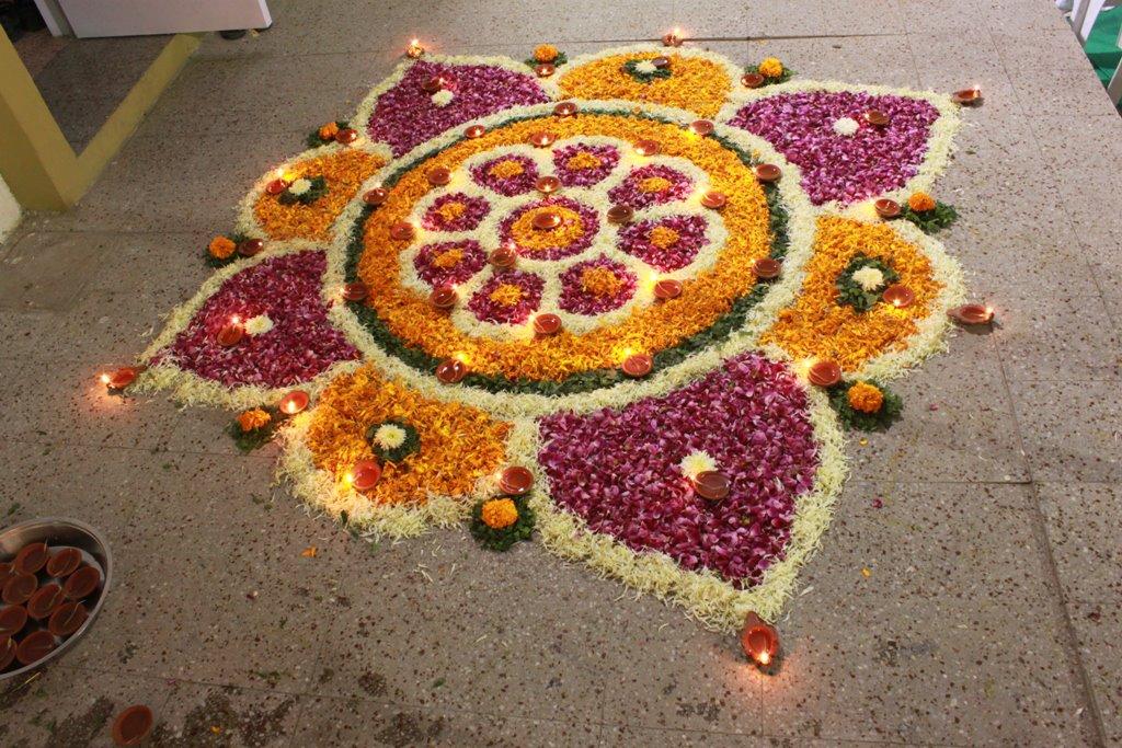 flower rangoli design by aarohi shah