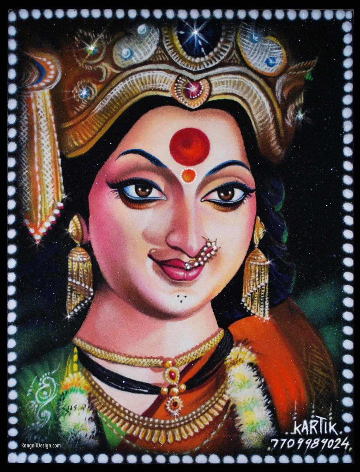 portrait rangoli goddess jagadamba by kartik
