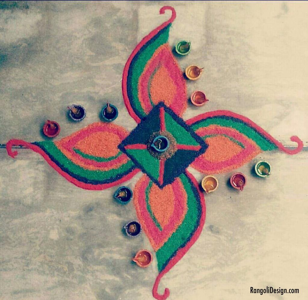 1 small flower rangoli design for kids by menaka rangoli