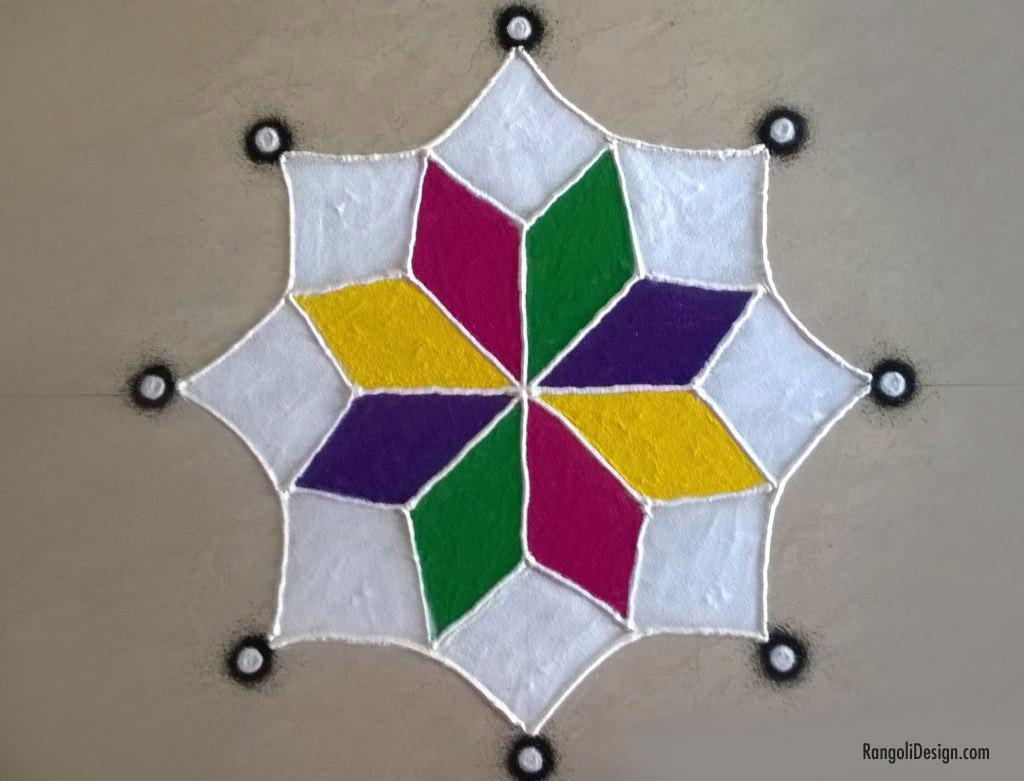 2 simple star pattern rangoli design for children