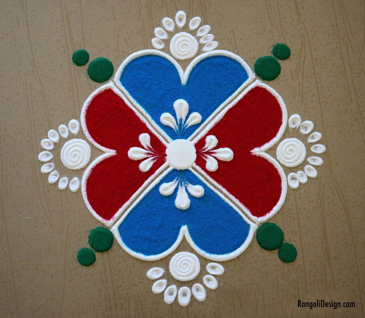 4 easy colour rangoli design by menaka rangoli