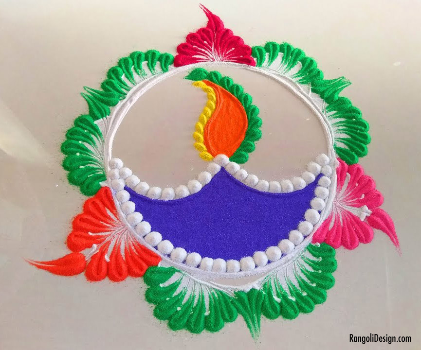 9 rangoli design for children diya lamp